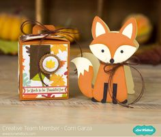 Hi everyone! Corri here today sharing a cute gift set that's perfect for Fall. Lori recently added this adorable fox to the Silhouette shop and I knew I wanted to make a shaped card with him. You can find instructions for making shaped cards here. I cut the box with handle and added some simple em