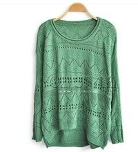 Hollow Green Sweater For Women