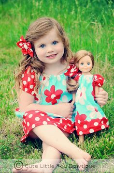 Peasant Dress SEWING PATTERN girls and dolls by littlelizardking, $7.00