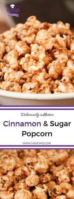 This cinnamon and sugar popcorn is so good you will not be able to stop eating it. It's deliciously addictive! A simple and easy recipe. | http://www.cakieshq.com