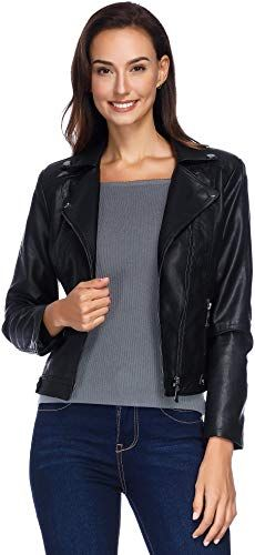 Tanmming Mens Faux Leather Moto Jacket with Removable Hood