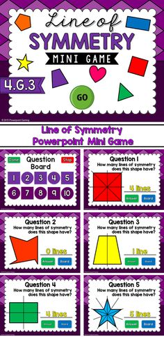 Check for student understanding with this fun, interactive powerpoint game. Students are given a shape and they must figure out how many lines of symmetry it contains. Includes triangles, squares, rectangles, and many more! There are 10 questions and y Symmetry Math, Symmetry Activities, Math Activities, Fourth Grade Math, 4th Grade Classroom, Future Classroom, Powerpoint Games, Student Teaching, Teaching Ideas