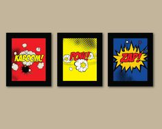 Set of 3 Comic Superhero Prints - 8x10 Prints - Comic Book - Boys Room Decor - Kids Room Wall Art. $42.00, via Etsy.