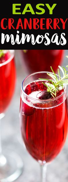 Mimosas Easy Cranberry Mimosas - You're just 3 ingredients away from the most festive and delicious holiday mimosa!Easy Cranberry Mimosas - You're just 3 ingredients away from the most festive and delicious holiday mimosa! Party Drinks, Cocktail Drinks, Fun Drinks, Yummy Drinks, Healthy Drinks, Juice Drinks, Eating Healthy, Cocktail Recipes, Cointreau Cocktail