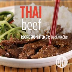 Thai Beef – Amazing World Food and Recipes Healthy Recipes For Diabetics, Healthy Salmon Recipes, Super Healthy Recipes, Healthy Crockpot Recipes, Beef Recipes, Cooking Recipes, Cooking Time, Easy Thai Recipes, Beef Tips