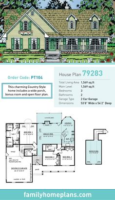96 best Country House Plans images on Pinterest   Country homes     Country House Plan 79283   Total Living Area  1569 SQ FT  3 bedrooms and