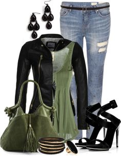 """A slight green of envy"" by angela-windsor on Polyvore.....with boots instead"