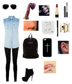 """""""High School"""" by captain-america-334 ❤ liked on Polyvore featuring Paige Denim, Levi's, Yves Saint Laurent, JanSport, Casetify, Happy Plugs, Calvin Klein, Dolce&Gabbana and Laura Mercier"""
