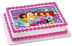 Lego Friends Edible Birthday Cake Topper OR Cupcake Topper, Decor - Edible Prints On Cake (Edible Cake &Cupcake Topper)