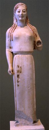 ARCHAIC: Peplos Kore, C. 530 BCE. Acropolis Museum, Athens. The original is in the Acropolis Museum in Athens (Acr. 679) and the traces of paint can still be seen, although they have faded since the statue was excavated from a pit by the Erechtheum on the Acropolis in 1884. It had been dumped there as part of the renovation after the Persians had destroyed the Acropolis in 480 and 479 BCE.