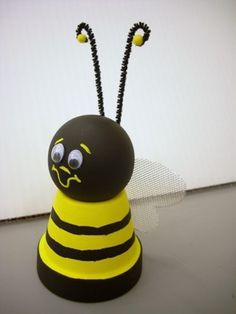 Great craft for kids to make for summer- flower pot, Styrofoam ball, 2 pipe cleaners, 2 yellow beads, yellow and black paint, googly eyes, what ever you want to make the wings with.