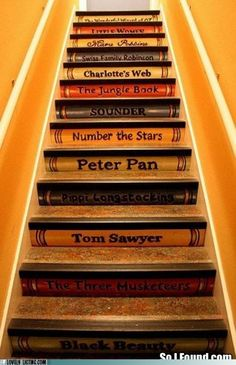 Bookshelf Painted Stairs OMG I would love this for stairs leading to a finished attic/play area