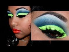 Tumblr Inspired - Cut Crease Neon Green Glitter and Blue Tutorial!!