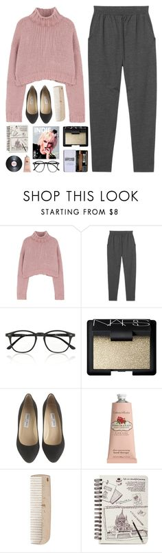"""""""-too long till I drown in your hands-"""" by unicorns-in-cloud9 ❤ liked on Polyvore featuring Monki, Illesteva, NARS Cosmetics, Jimmy Choo, Crabtree & Evelyn and HAY"""