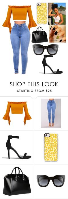 """""""black and yellow"""" by queenamya123 ❤ liked on Polyvore featuring Forever 21, Indian Ocean, Casetify, Givenchy and Gucci"""