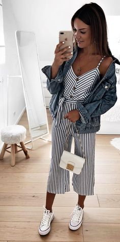 70 Street Outfits that'll Change your Mind – - Christmas-Desserts Jumpsuit Outfit, Casual Jumpsuit, Striped Jumpsuit, Sneakers Outfit Casual, Sneakers Fashion Outfits, Short Outfits, Trendy Outfits, Jumpsuit Pattern, Street Outfit