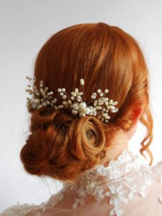 Vintage Style Pearl Rhinestone Spray Comb Small by DaydreamBridal