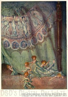 RARE Unusual Fairies Fleeing. VINTAGE Fairy Tale DIGITAL Illustration. Digital Download via Etsy