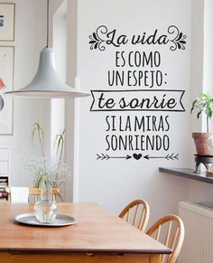 vinilos decorativos de pared frases - personalizados y más!! Lettering, Spanish Quotes, Wall Decor, Bedroom Decor, Interior Design Living Room, Ideas Para, Sweet Home, New Homes, Positivity