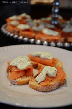 Smoked Salmon Crostini with Dill Cream - A Teaspoon of Happiness