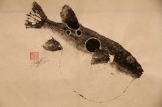 TIGER BLOWFISH 'Tora-Fugu' original GYOTAKU (3) - traditional Japanese fish art by dowaito. $300.00, via Etsy.