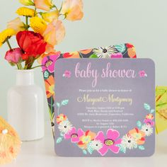 A floral baby shower invitation, perfect for springtime babies.