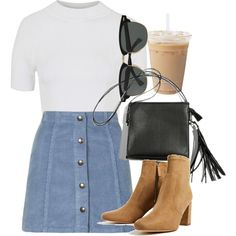 A fashion look from August 2016 featuring Topshop tops, Topshop mini skirts and Ray-Ban sunglasses. Browse and shop related looks.