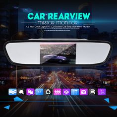 Mirror 4.3 Inch Color TFT LCD Parking 4.3'' Rearview Monitor for Backup Reverse Camera