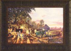 THE REMATCH by Dave Barnhouse 17x23 FRAMED ART International John Deere Tractors