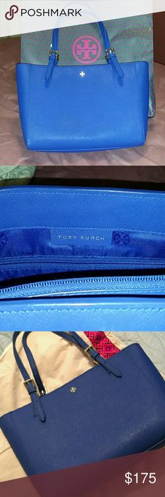 """Tory Burch Tote Tory Burch Small York Buckle Tote - Cobalt Blue Saffiano Leather Like new condition with zero scratches or damage. Just a few barely noticeable watermark. A small but comfortable size to carry a full days essentials.  Handbags details:  Open Top with easy access. Shoulder straps - 8"""" drop  Height - 8.7"""" Depth - 5"""" Length - 12"""" Tory Burch Bags Shoulder Bags"""