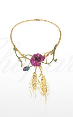 A stunning #necklace from the Red Carpet Collection designed as a flowering poppy with pavé-set ruby petals, a similarly set bud and golden sheaves of wheat