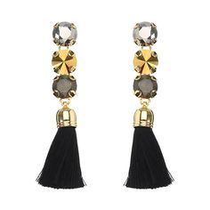 JASSY® Elegant Luxury 18K Gold Plated Crystal Black Tassel Ear Drop for Women