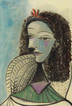 Pablo Picasso (1881-1973). Buste de femme, oil on canvas, 21¾ x 15 in. (55.2 x 38 cm.), Painted in Mougins, 28 August 1938.