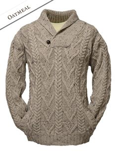 Mens Shawl Neck Fisherman Sweater in oatmeal
