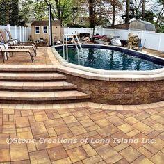 Semi Inground Pool Deck, Above Ground Swimming Pools, Swimming Pools Backyard, Swimming Pool Designs, In Ground Pools, Above Ground Pool Inground, Above Ground Pool Landscaping, Backyard Pool Landscaping, Backyard Pool Designs