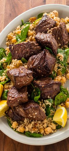 Moroccan Steak Tips and Couscous: For a flavorful weeknight supper, we add flavor to every step (and minimize dishes) by using the same skillet to cook each component.