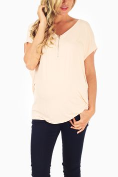 Pale-Pink-Zipper-Front-Maternity-Top #maternity #fashion #cutematernityclothing #cutematernitytops #affordablematernityclothing #transitionalclothing