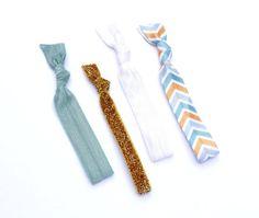 CHEVRON  4 Comfort Elastic Hair Ties / Bands / by lizziestarr