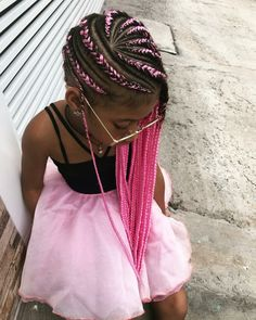 Lil Girl Hairstyles Braids, Cute Little Girl Hairstyles, Black Girl Braided Hairstyles, Black Girl Braids, Braided Hairstyles For Black Women, Braids For Black Hair, Kid Braid Styles, Hair Styles, Cabello Afro Natural