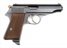 """This is a prototype Walther Model PP, with pre-production pattern grips, lock work and two-part firing pin. The trigger is strawed and has what appears to be case color towards the top sides. The prototype hammer is strawed. Its unique magazine has a prototype metal extension at base. The front gripstrap is stamped """"1"""", and the serial number 750007 is engraved in slide holdopen latch well."""