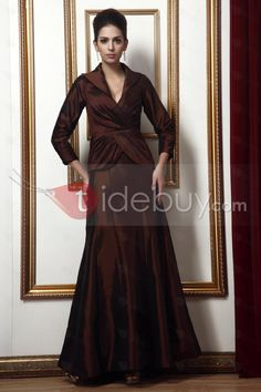 チャーミング スレンダーライン Vネック 七分袖 ロング丈 花嫁さんの母ドレス