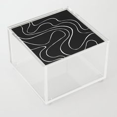 Ebb and Flow 2 - Black on White Acrylic Box by laec | Society6 Good Advice For Life, Storage Places, White Acrylics, Acrylic Box, Flow, In This Moment, Store, Black, Black People