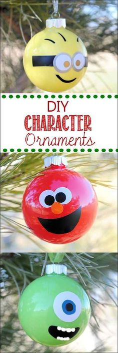 Glass Ball Character Ornaments | 36 Adorable DIY Ornaments You Can Make With The Kids