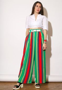 VINTAGE 70S STRIPED OVERSIZED PANTS