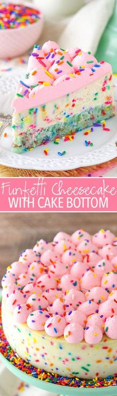 This Funfetti Cheesecake is thick, creamy and delicious! And to make it even better, it's got a cake bottom instead of your average crust. It's super fun and perfect for celebrating today's occasion!