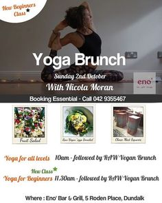 """Spaces booking out fast for our next """"Yoga Brunch"""" here at eno' which takes… Restaurant 2, Yoga For All, Space Books, New Class, Bar Grill, Raw Vegan, Grilling, Brunch, Spaces"""