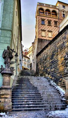 Passage with Statue.. Castle of Prague, Czech Republic