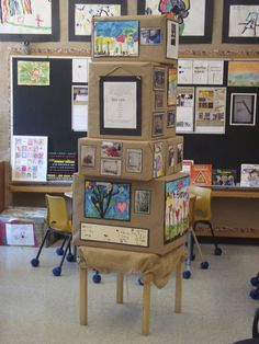Reduce reuse recycle or buildings studies- Box display board- use boxes wrapped in brown paper and stacked to display photo and student projects. Use ongoing through the study or as a unique celebration display as the study comes to an end. Could be displayed in classroom, outside in the hallway or school entrance.           We Are Project 1