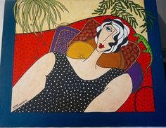PAINTING of Reclining Female CONTEMPORARY ACRYLIC signed. by blingblingfling on Etsy