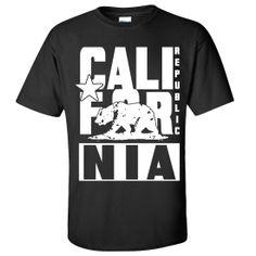 Dolphin Shirt Co California Flag White Retro Bold Text Asst Colors T-shirt/tee by DSC : All
